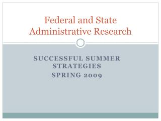 Federal and State Administrative Research