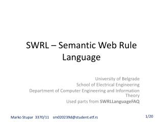 SWRL – Semantic Web Rule Language