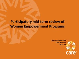 Participatory mid-term review of Women Empowerment Programs