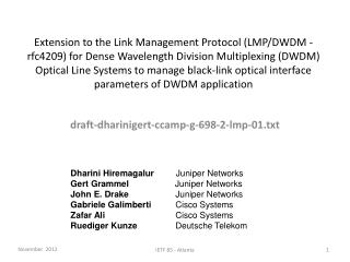 draft-dharinigert-ccamp-g-698-2-lmp-01.txt