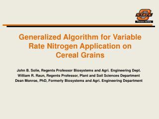 Generalized Algorithm for Variable Rate Nitrogen Application on Cereal Grains