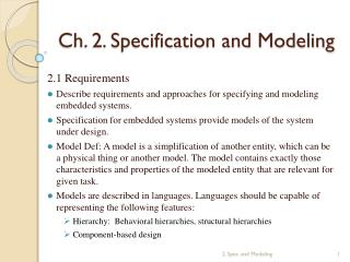 Ch. 2. Specification and Modeling