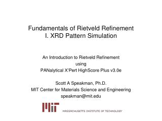 Fundamentals of Rietveld Refinement I. XRD Pattern Simulation