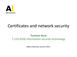 Certificates and network security