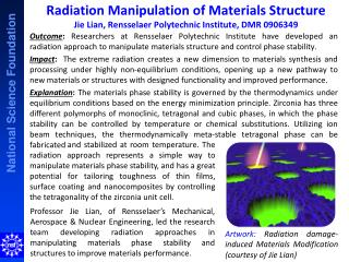Artwork:  Radiation damage-induced Materials Modification (courtesy of Jie Lian)