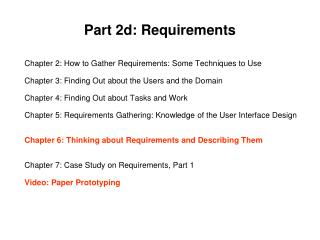 Part  2d: Requirements