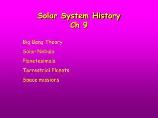 Solar System History Ch 9