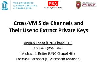 Cross-VM Side Channels and Their Use to Extract Private Keys