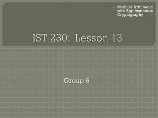 IST 230:  Lesson 13
