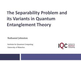 T he Separability Problem and its Variants in Quantum Entanglement Theory