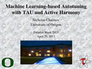 Machine Learning-based  Autotuning  with TAU and Active Harmony