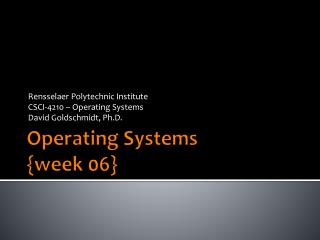 Operating Systems {week  06}