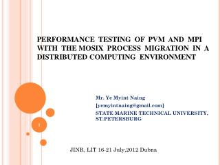 Mr. Ye  Myint Naing [yemyintnaing@gmail] STATE MARINE TECHNICAL UNIVERSITY, ST.PETERSBURG