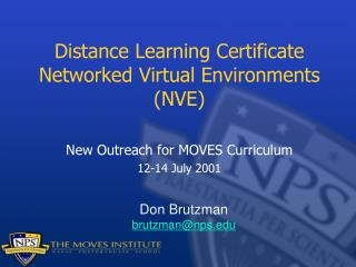 Distance Learning Certificate Networked Virtual Environments (NVE)