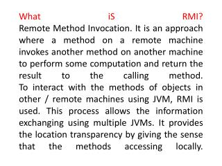 Advantages of RMI: