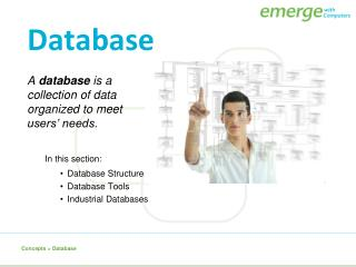 A  database  is a collection of data organized to meet users� needs.