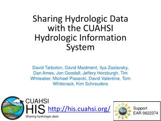 Sharing Hydrologic Data with the CUAHSI Hydrologic Information System