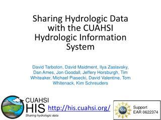 Sharing Hydrologic Data with the CUAHSI Hydrologic Information System