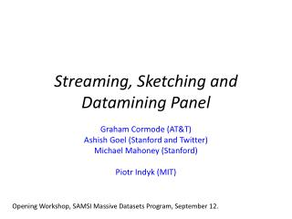 Streaming , Sketching  and   Datamining  Panel