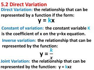 5.2 Direct Variation