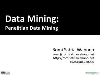 Data Mining: P enelitian Data Mining