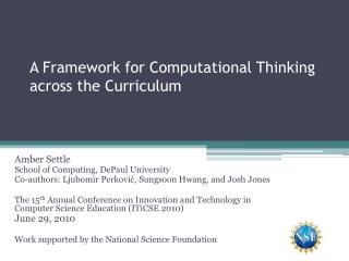 A Framework for Computational Thinking across the Curriculum