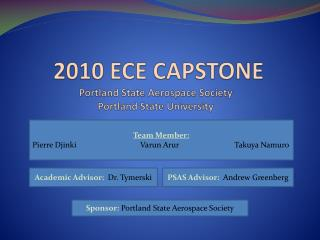 2010 ECE CAPSTONE  Portland State Aerospace Society  Portland State University