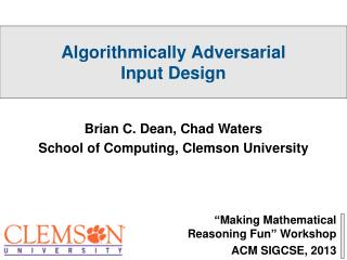 """Making Mathematical Reasoning Fun"" Workshop ACM SIGCSE, 2013"