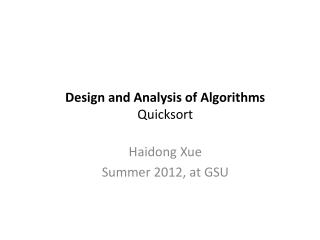 Design  and Analysis of Algorithms Quicksort