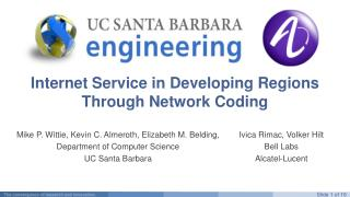 Internet Service in Developing Regions Through Network Coding