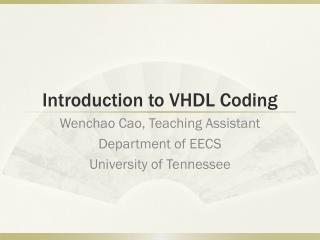 Introduction to VHDL Coding