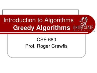 Introduction to Algorithms Greedy  Algorithms