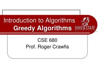 Introduction to Algorithms Greedy  Algorithms