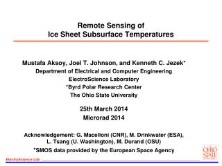 Remote Sensing of  Ice  Sheet  Subsurface  Temperatures