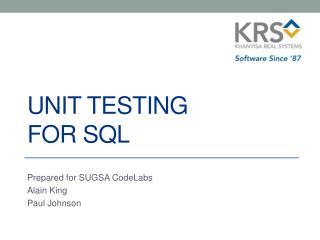 UNIT TESTING for SQL