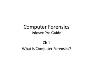 Computer Forensics Infosec  Pro Guide