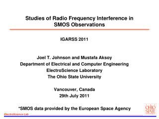 Studies of Radio Frequency Interference in  SMOS Observations