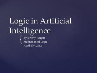 Logic in Artificial Intelligence