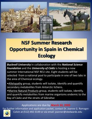 NSF Summer Research Opportunity in Spain in Chemical Ecology