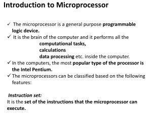 Introduction to Microprocessor