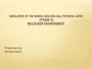 Simulation of the  W i max  (IEEE 802.16 e ) PHYSICAL LAYER  (Phase 5 ) Multiuser environment