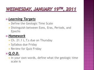 Wednesday, January 19 th , 2011