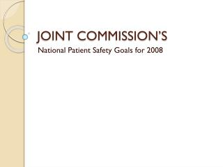 JOINT COMMISSION S