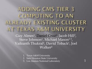 Adding CMS Tier 3 computing to an already existing cluster at  texas a&m  university