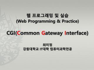 웹 프로그래밍 및 실습 (Web Programming & Practice) CGI( C ommon  G ateway  I nterface) 최미정