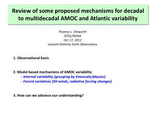 Review of some proposed mechanisms for decadal to  multidecadal  AMOC and Atlantic variability