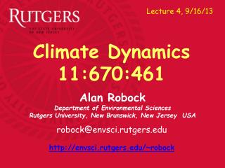 Alan Robock Department of Environmental Sciences