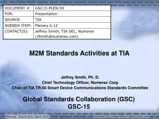 M2M Standards Activities at  TIA