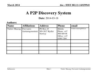 A P2P Discovery System