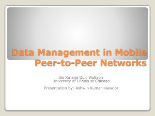 Data Management in Mobile Peer-to-Peer Networks